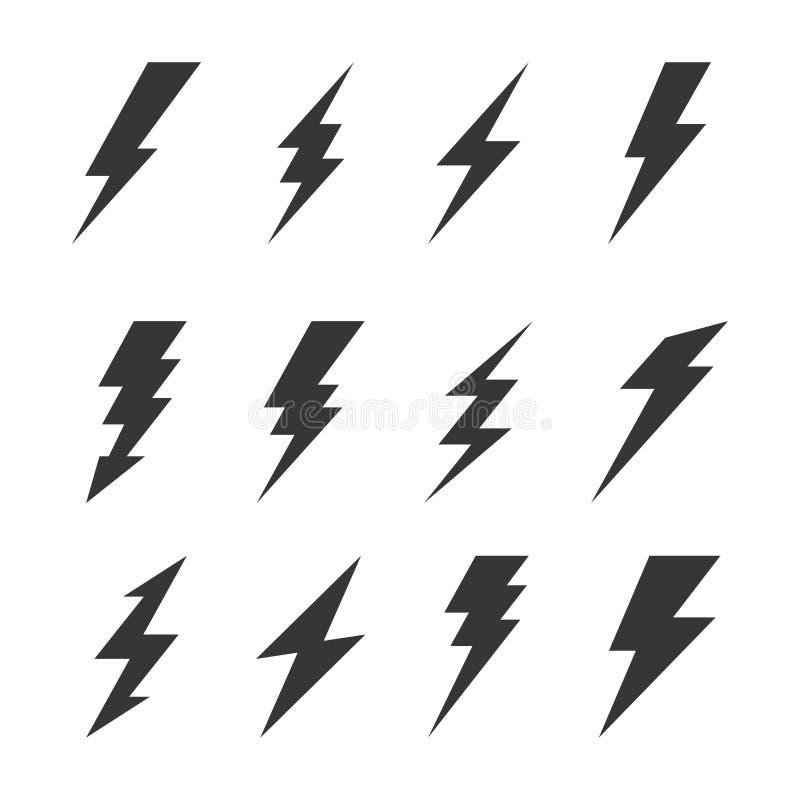 Ícones do flash da iluminação do trovão e do parafuso ajustados Vetor ilustração royalty free