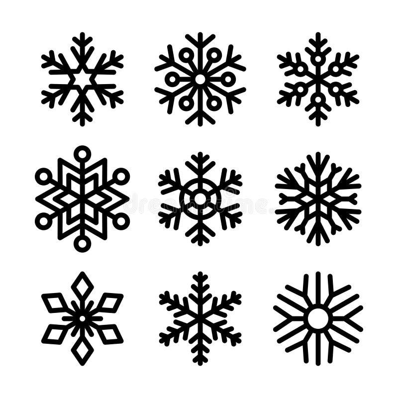 Ícones do floco de neve ajustados no fundo branco Vetor ilustração stock