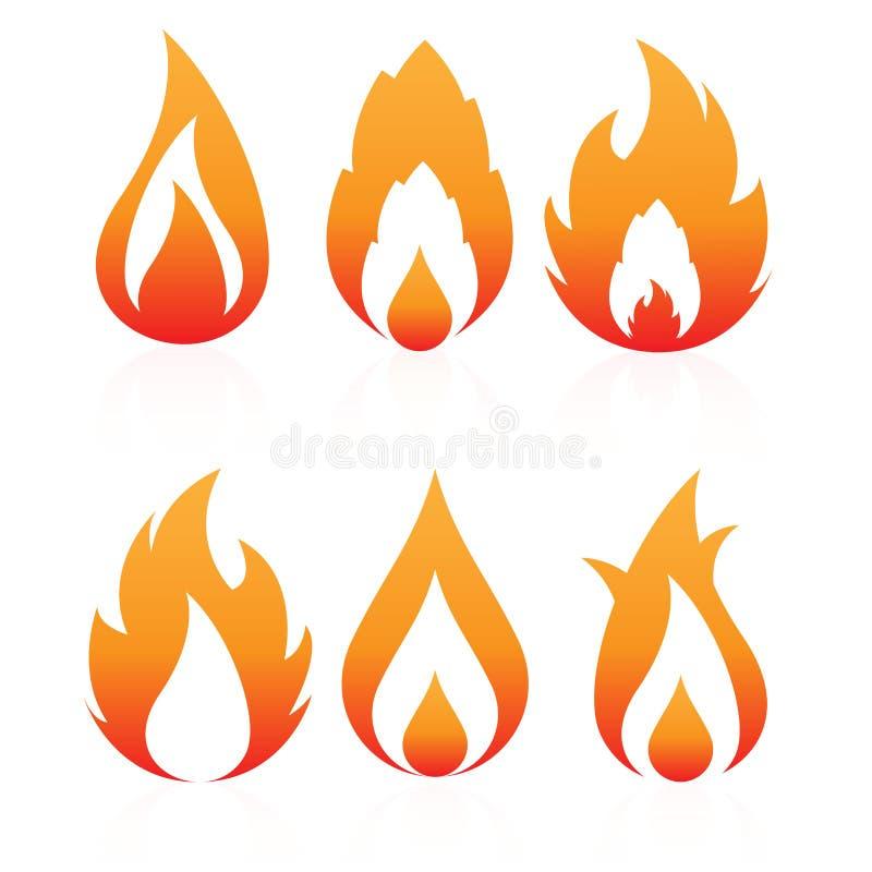 Ícones do fogo ilustração royalty free