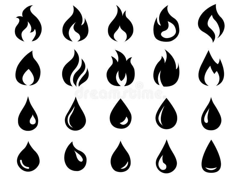 Ícones do fogo e da água ajustados fotografia de stock royalty free