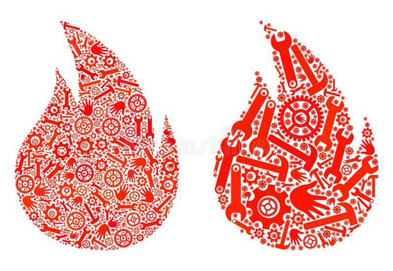 Ícones do fogo do mosaico de ferramentas do reparo ilustração do vetor
