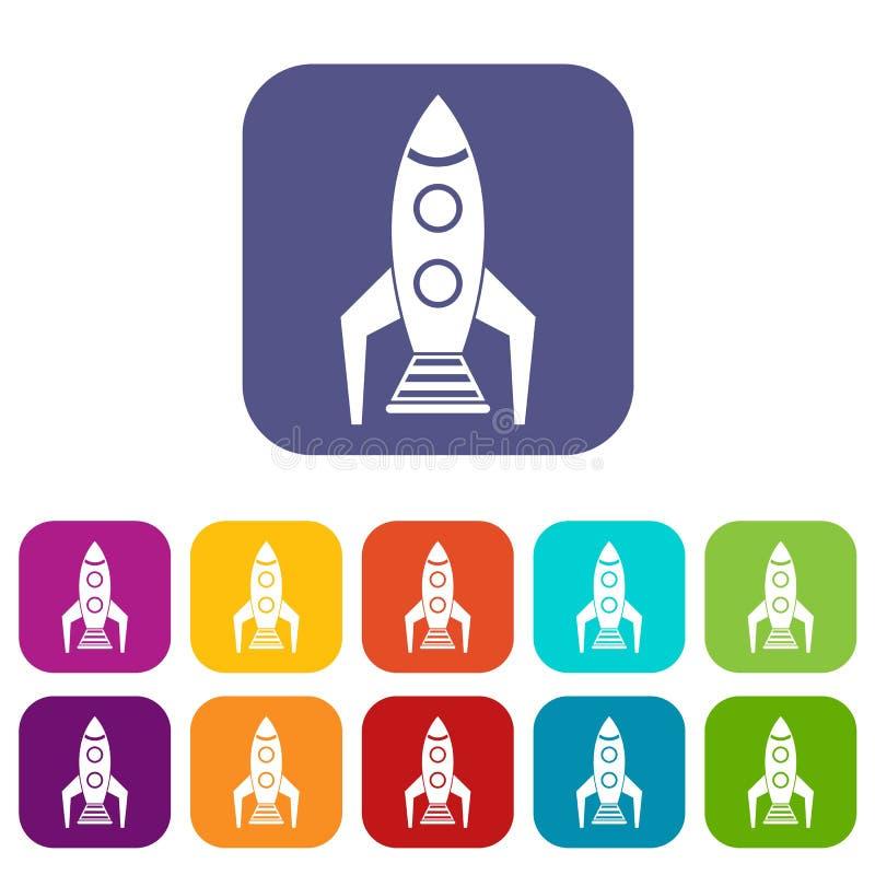 Ícones do foguete de espaço ajustados ilustração royalty free