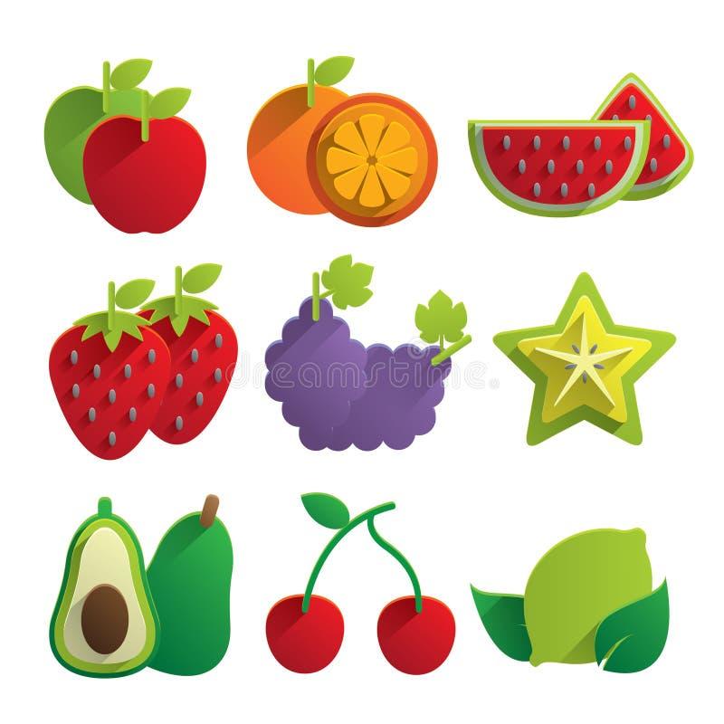 Ícones do fruto ilustração royalty free