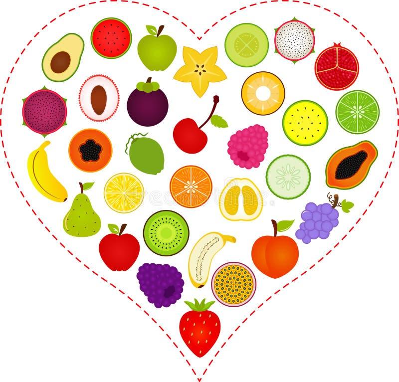 Ícones do fruto dentro de um coração ilustração royalty free