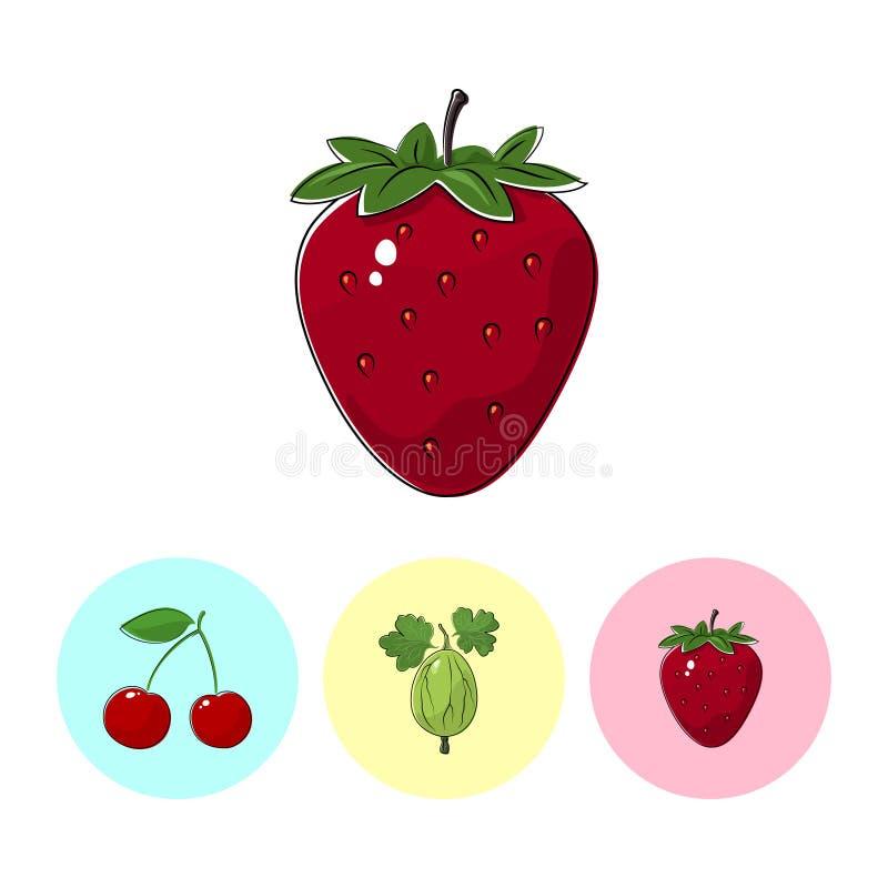Ícones do fruto, morango, groselha, cereja ilustração stock