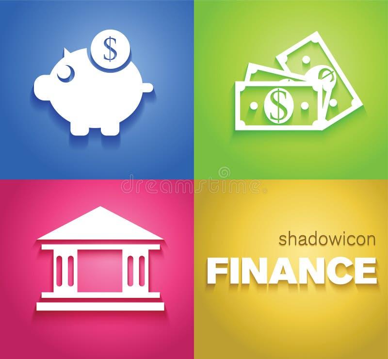 Ícones do fundo da finança ilustração stock