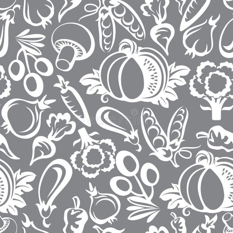 Ícones do fundo dos vegetais ilustração royalty free