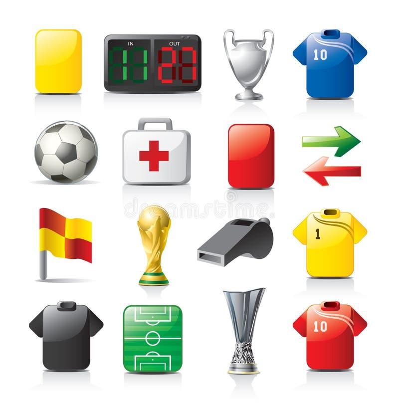 Ícones do futebol ilustração stock