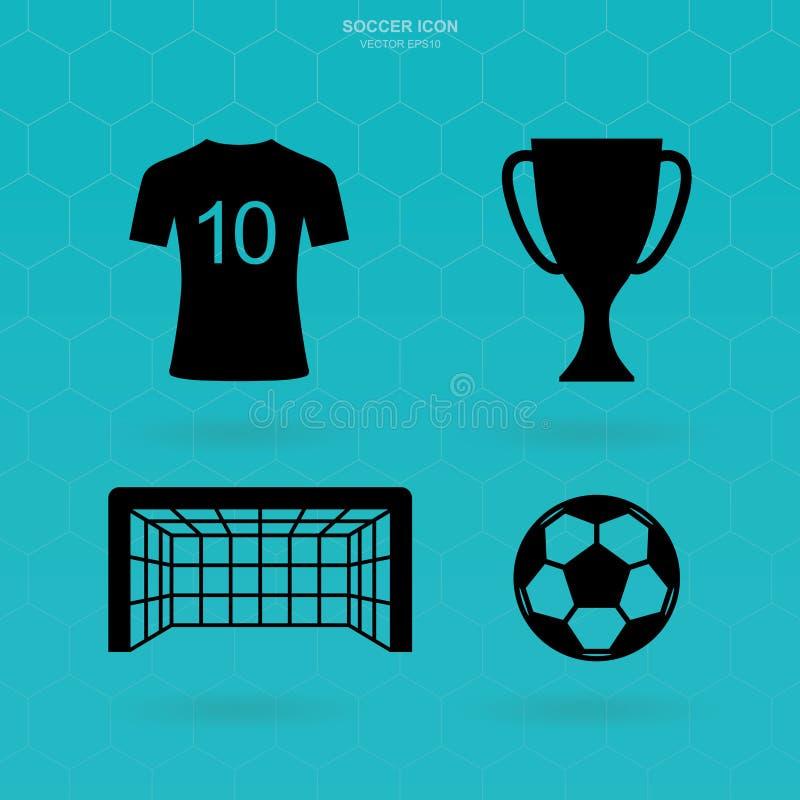 Ícones do futebol ajustados Sinal e símbolo abstratos do futebol Vetor ilustração do vetor