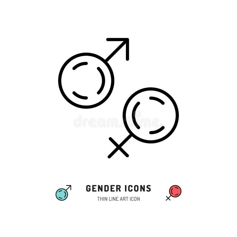 Ícones do gênero, homem e símbolos fêmeas Linha projeto da arte, ilustração do vetor ilustração stock