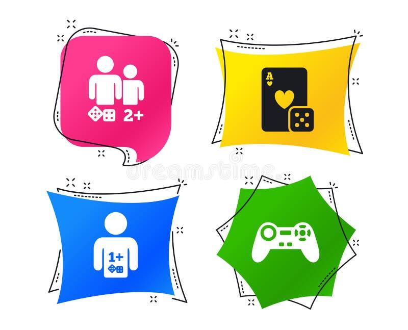 Ícones do Gamer Jogadores dos jogos de mesa Vetor ilustração royalty free