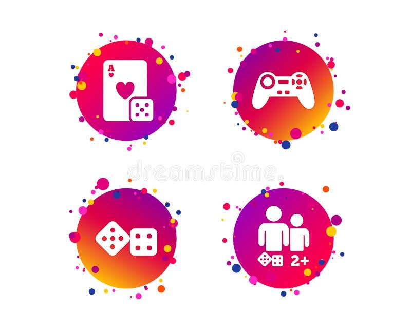 Ícones do Gamer Jogadores dos jogos de mesa Vetor ilustração stock