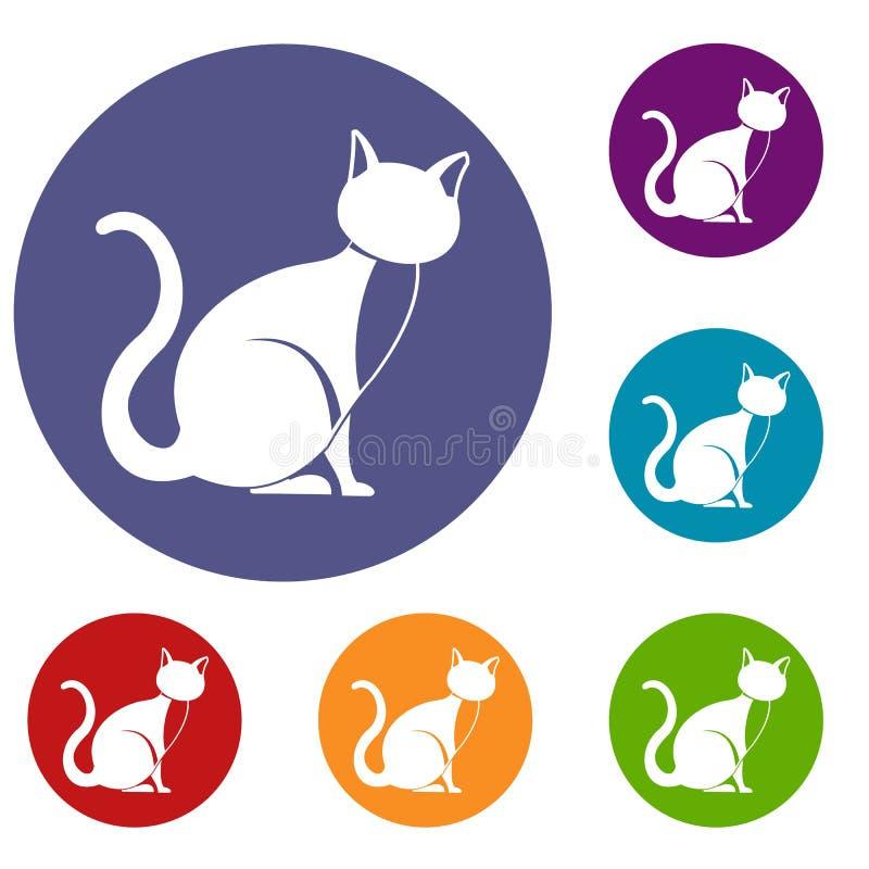 Ícones do gato preto ajustados ilustração royalty free