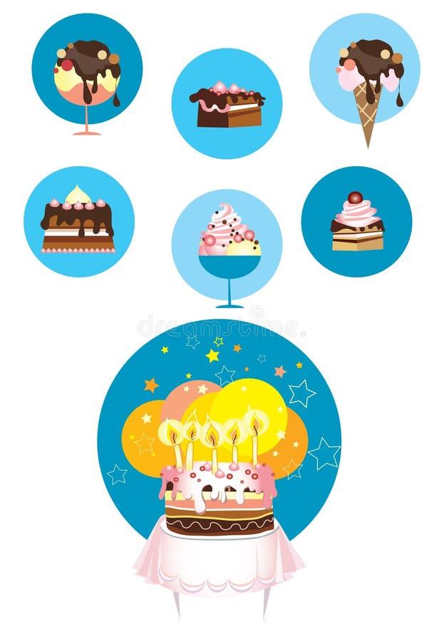 Ícones do gelado e do bolo ilustração stock