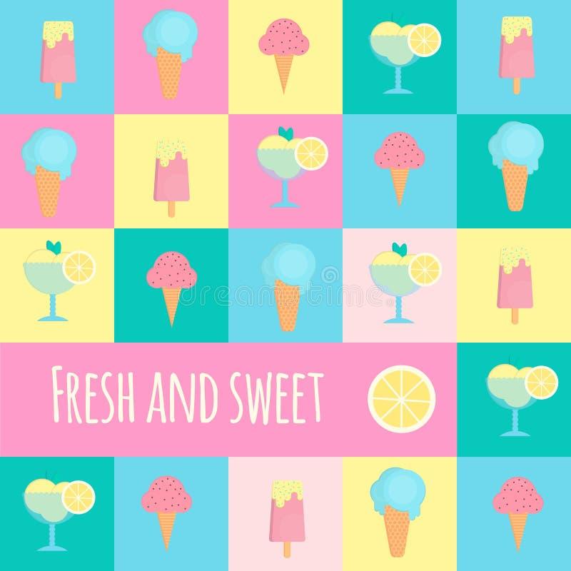 Ícones do gelado no estilo liso ilustração royalty free