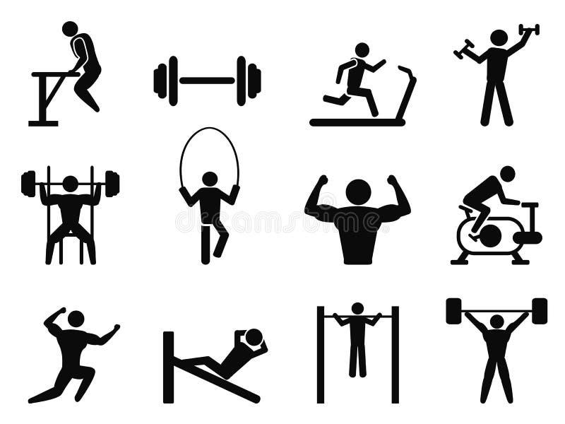 Ícones do ginásio e do body building ilustração royalty free