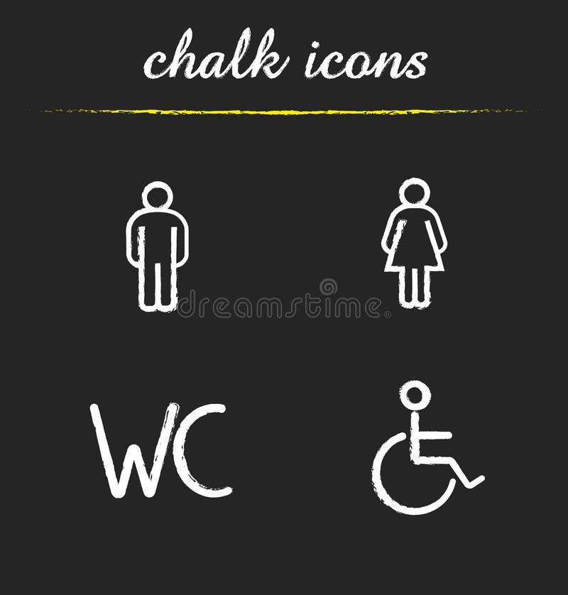 Ícones do giz dos sinais da porta do toalete do WC ajustados ilustração stock