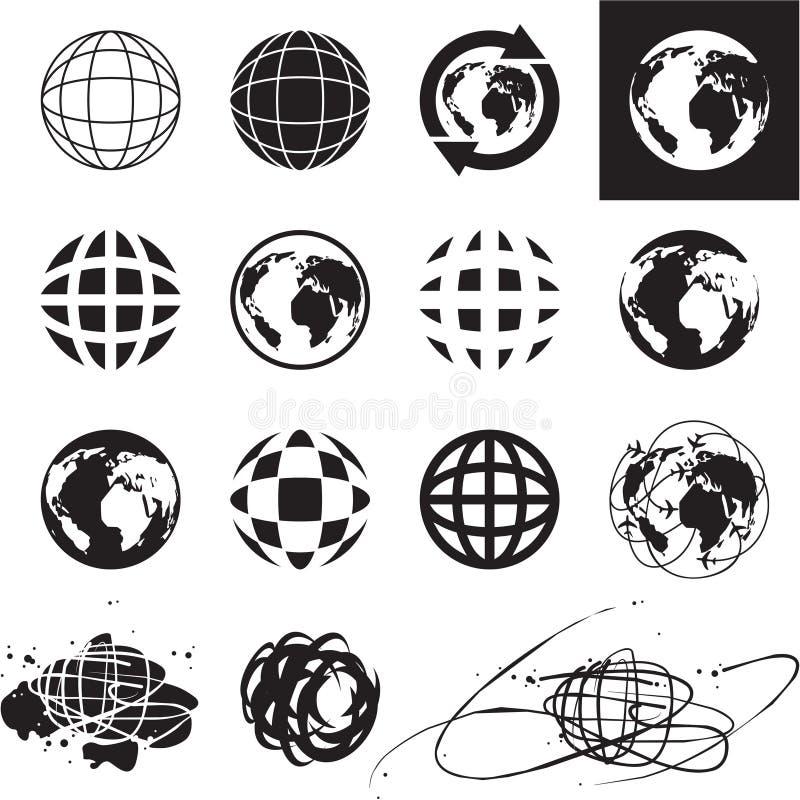 Ícones do globo ilustração stock