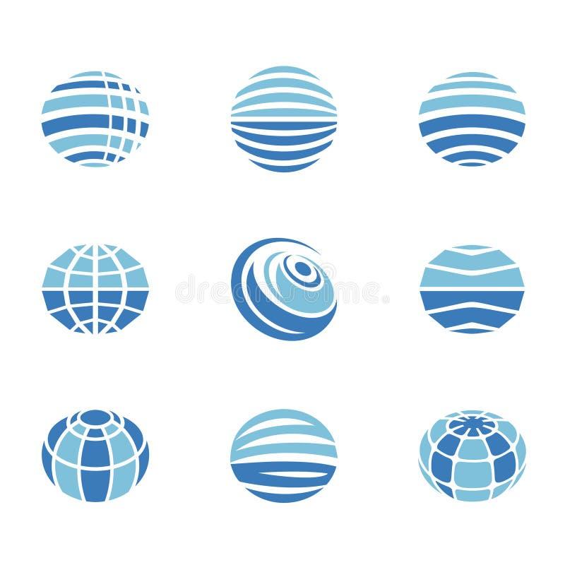 Ícones do globo ajustados ilustração royalty free