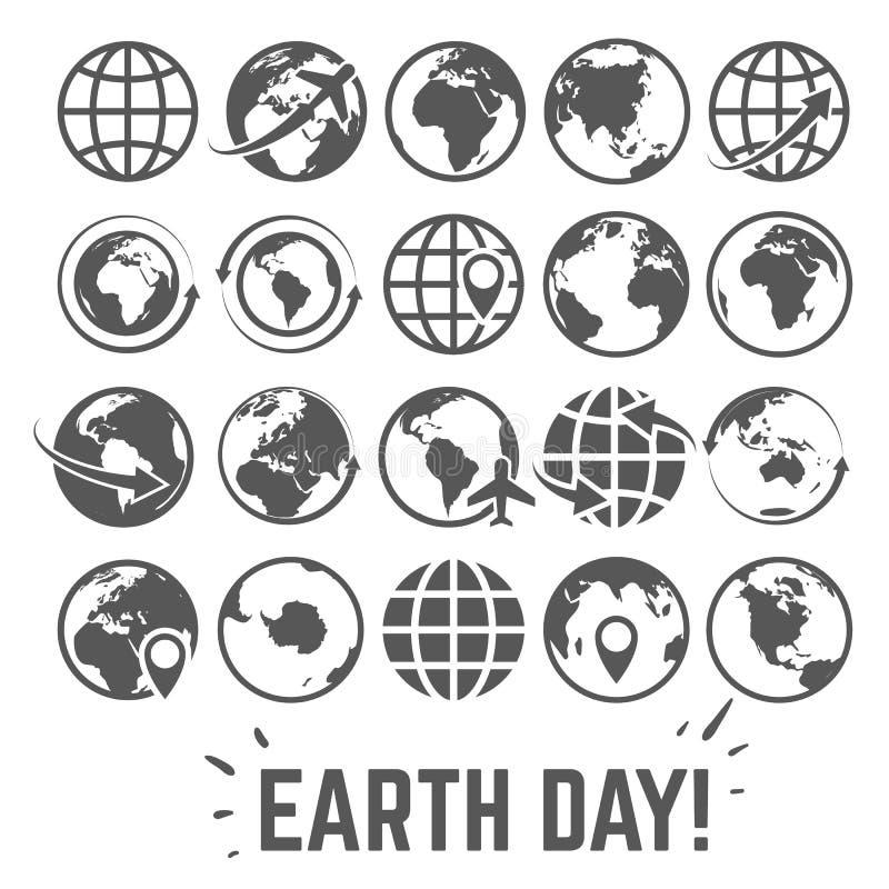 Ícones do globo ajustados Cartão do Dia da Terra do mundo com símbolos globais do vetor do turismo do comércio do Internet do map ilustração royalty free