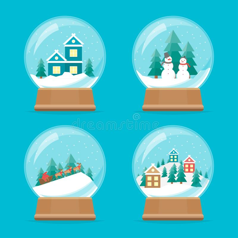 Ícones do globo da neve dos desenhos animados ajustados Vetor ilustração do vetor