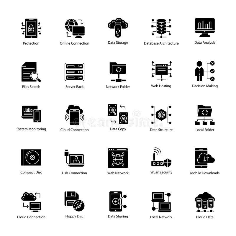 Ícones do glyph da ciência dos dados ilustração do vetor