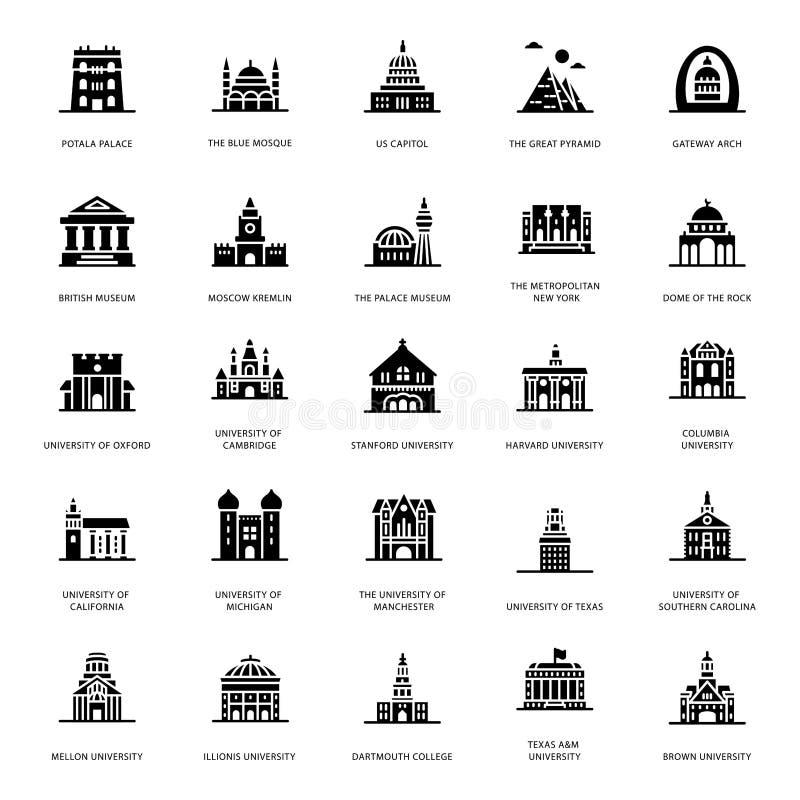 Ícones do Glyph das construções da universidade ilustração royalty free