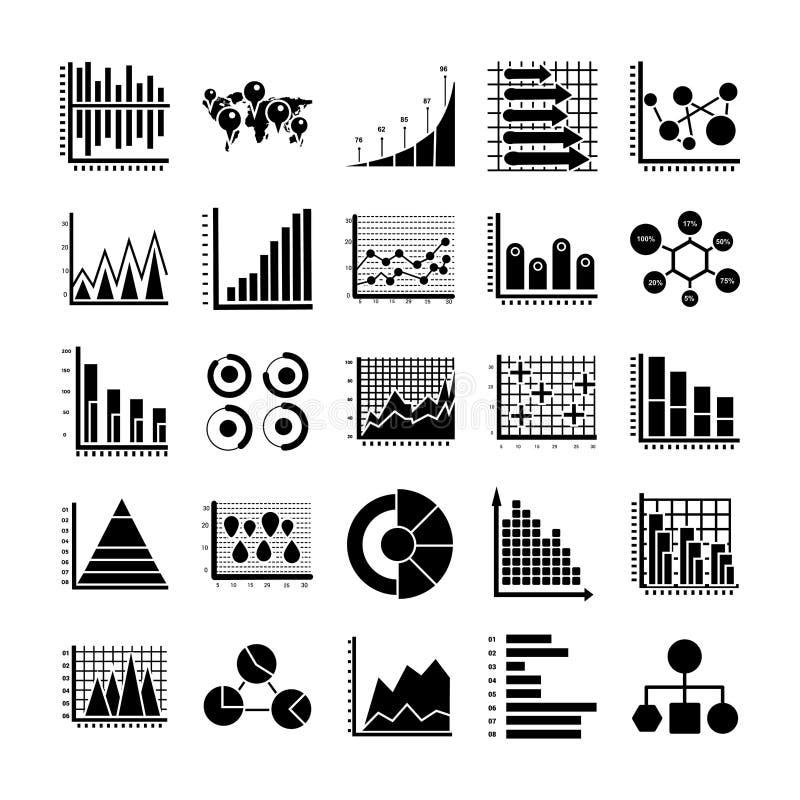 Ícones do Glyph de Infographic ilustração do vetor