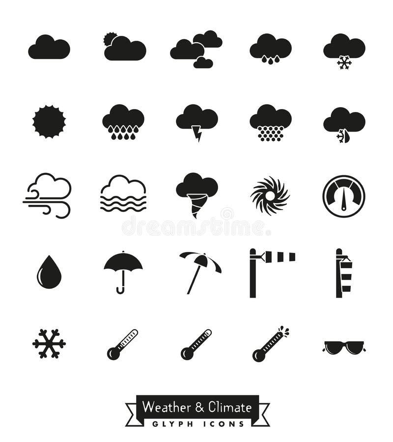 Ícones do glyph do tempo e do clima ajustados ilustração stock