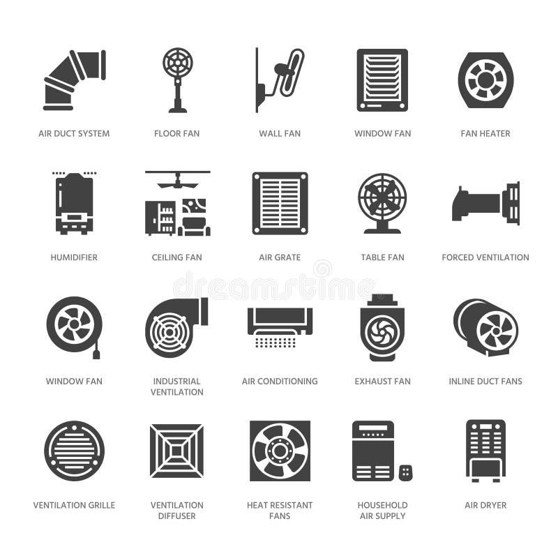 Ícones do glyph do equipamento da ventilação Condicionamento de ar, dispositivos refrigerando, exaustor Agregado familiar e indus ilustração stock