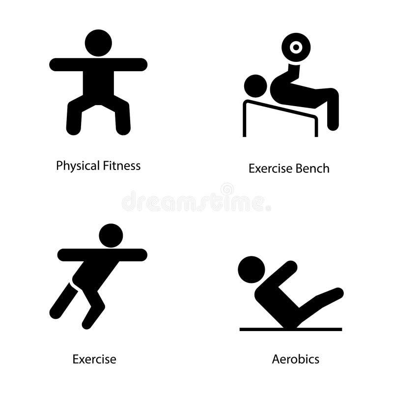 Ícones do Glyph do plano do exercício e da dieta ilustração royalty free