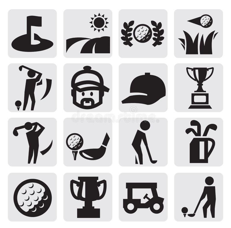 Ícones do golfe ilustração do vetor