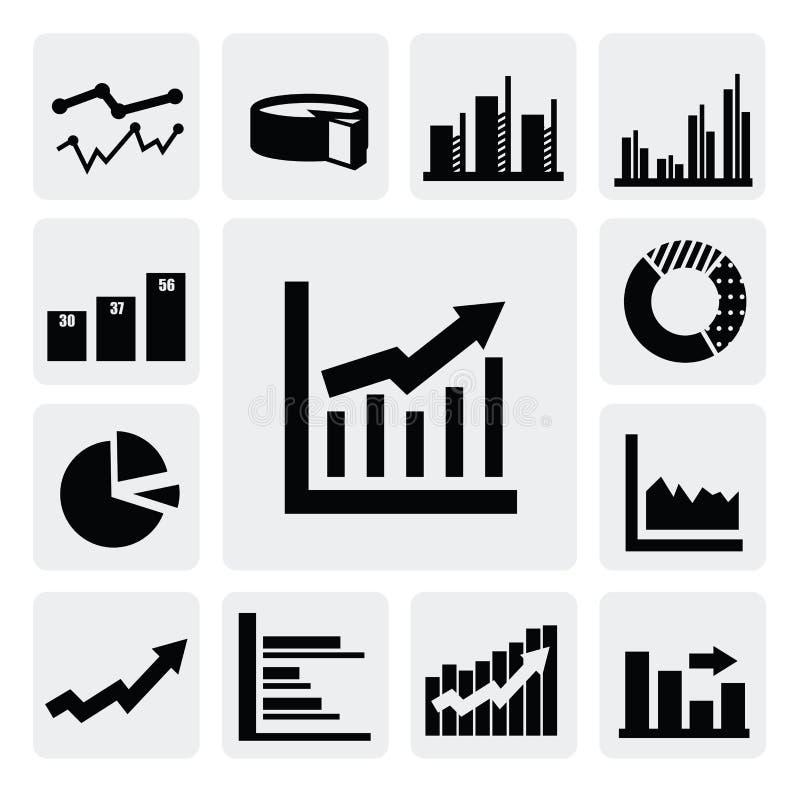 Ícones do gráfico de negócio ilustração stock
