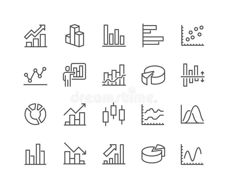 Ícones do gráfico linear ilustração stock