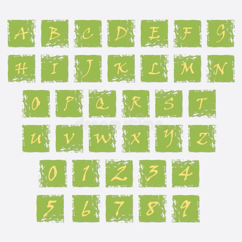 Ícones do Grunge com letras do alfabeto e de números ilustração stock