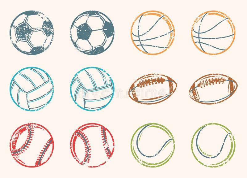 Ícones do Grunge das bolas dos esportes ilustração royalty free
