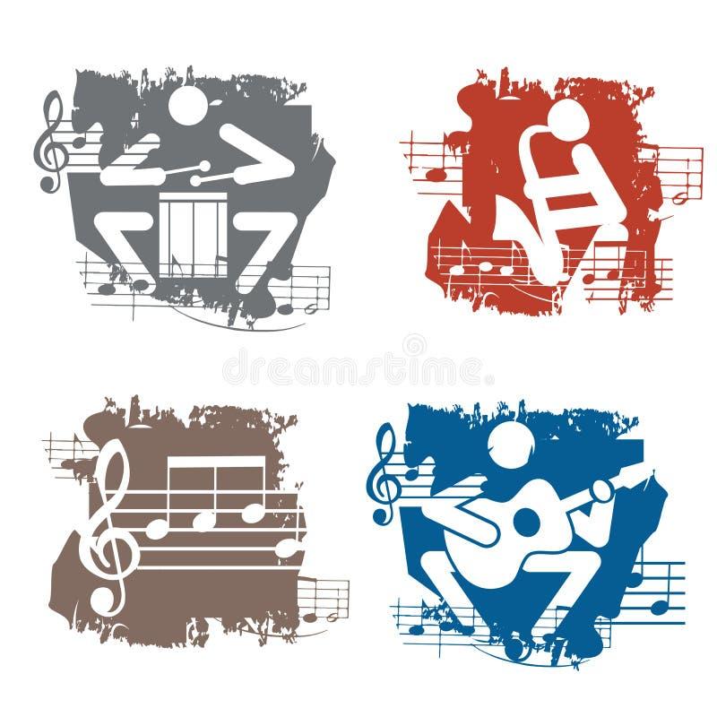 Ícones do grunge dos músicos ilustração stock