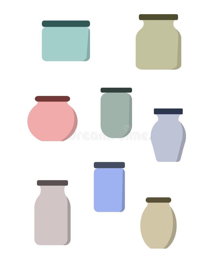 Ícones do grupo de vidro vazio dos frascos ilustração stock