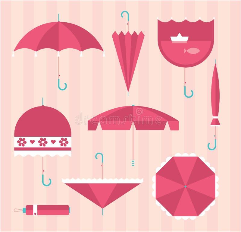 Ícones do guarda-chuva ilustração stock