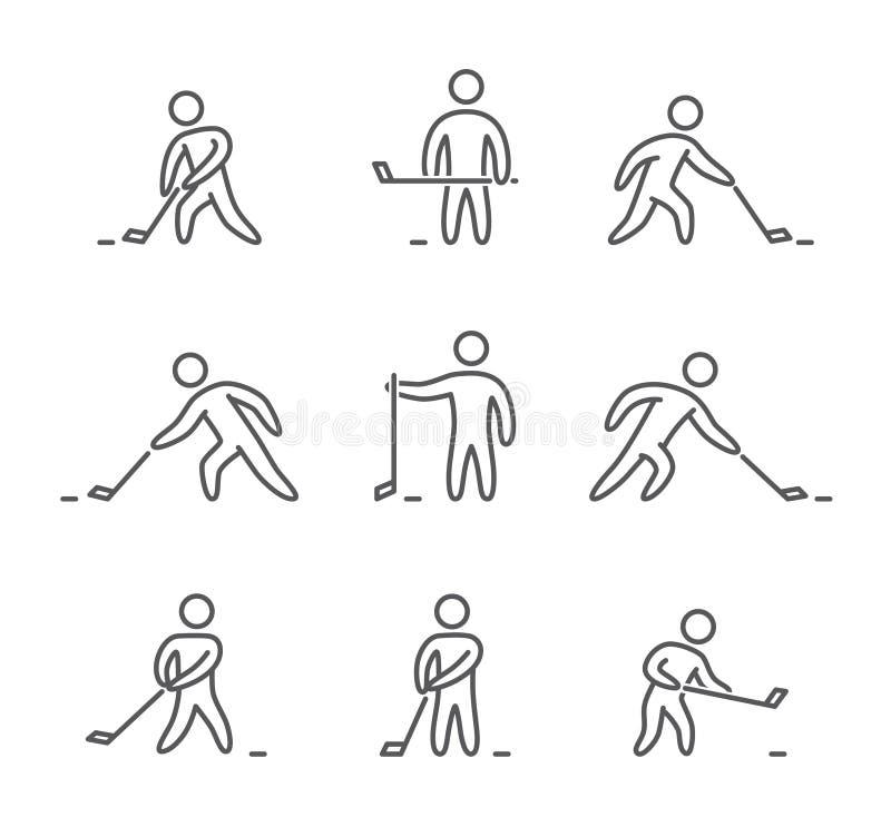 Ícones do hóquei do esboço ajustados ilustração stock