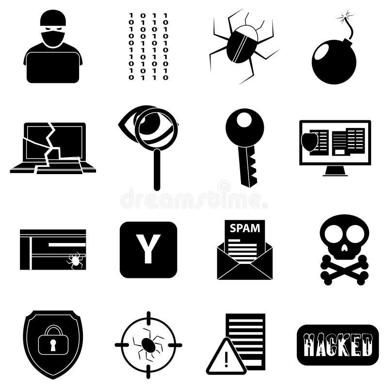 Ícones do hacker ajustados ilustração stock