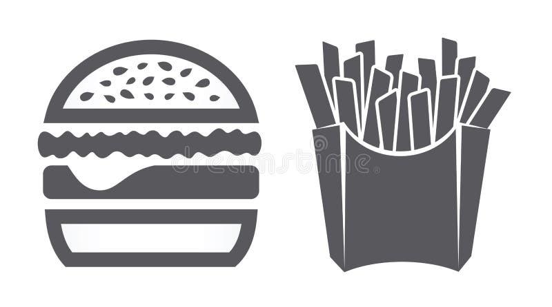 Ícones do Hamburger e das fritadas ilustração royalty free