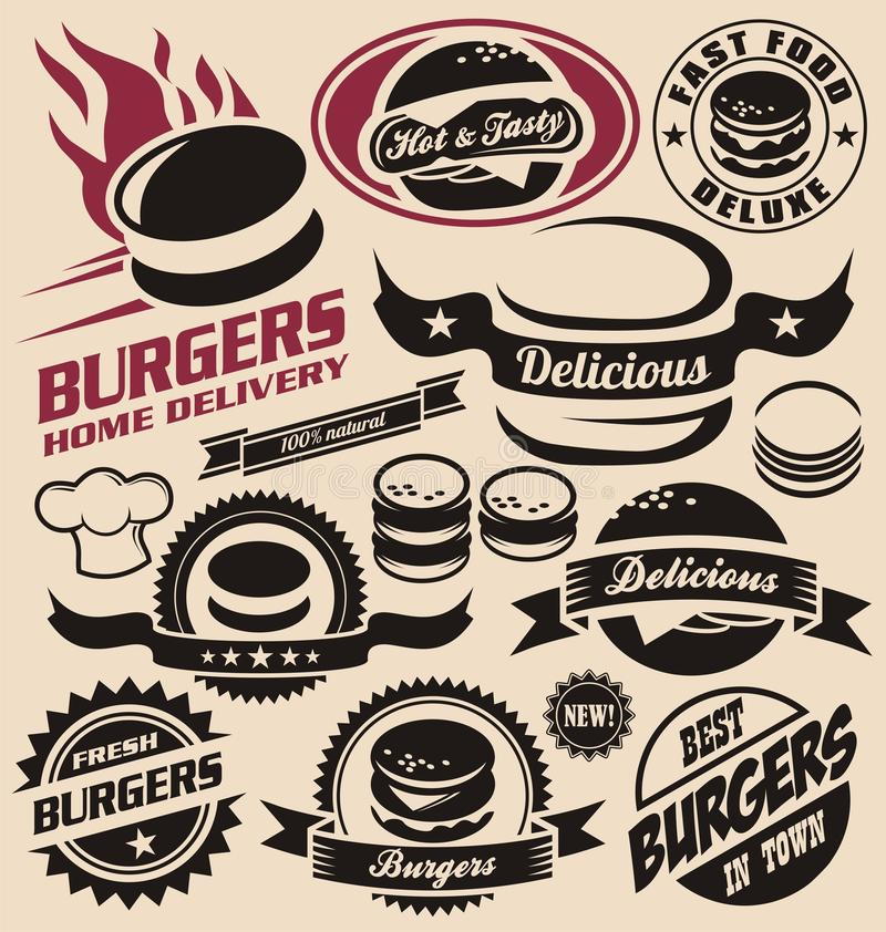 Ícones do hamburguer, etiquetas, sinais, símbolos e elementos do projeto ilustração stock