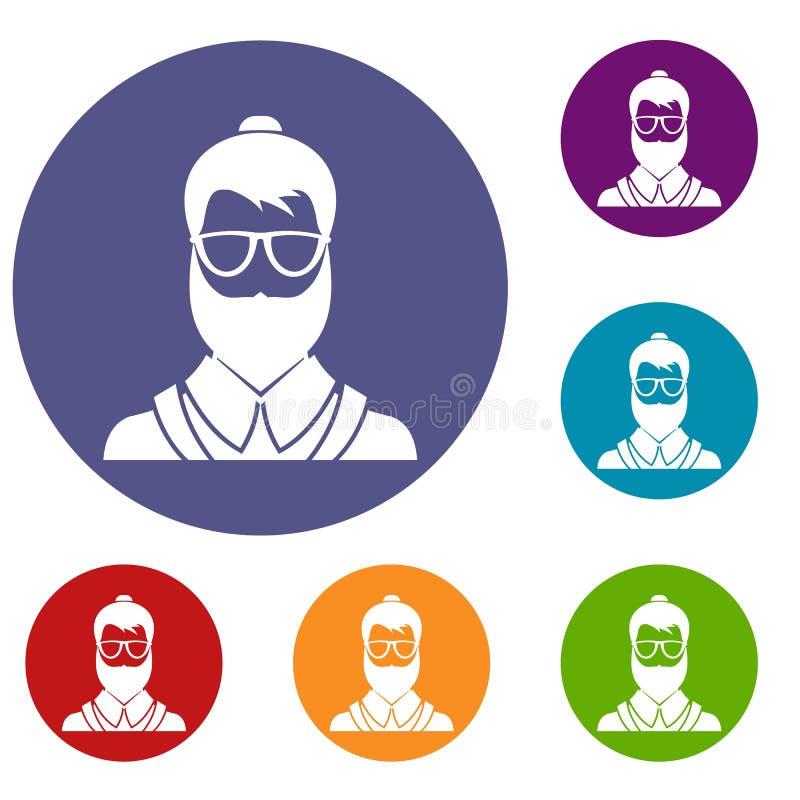 Ícones do homem de Hipsster ajustados ilustração royalty free