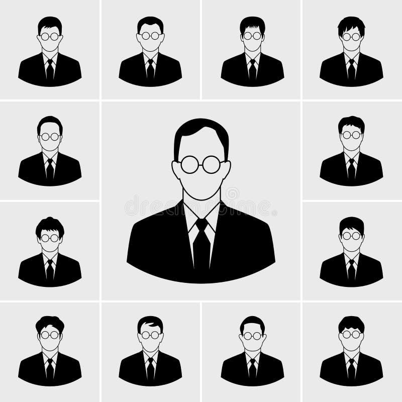 Ícones do homem de negócio ajustados ilustração royalty free