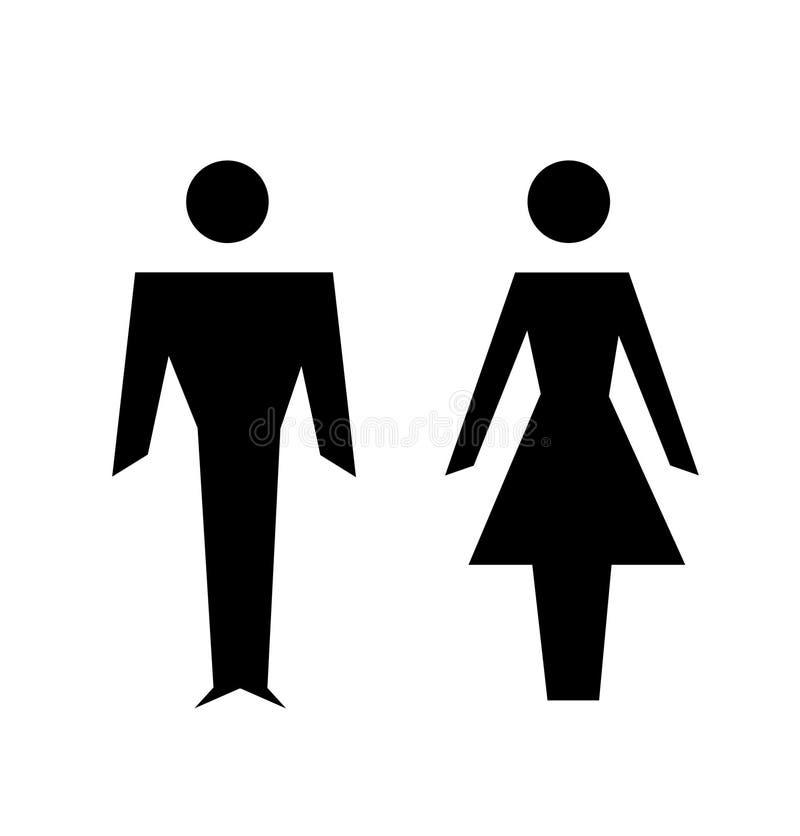 Ícones do homem e da mulher, sinal do toalete ilustração royalty free