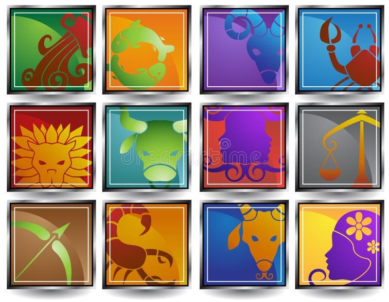 Ícones do Horoscope do zodíaco ilustração stock