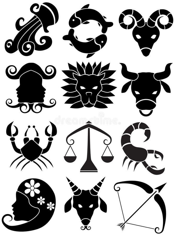 Ícones do Horoscope do zodíaco - preto e branco ilustração do vetor