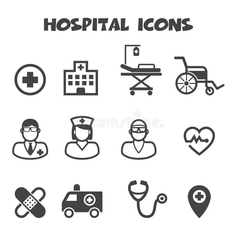 Ícones do hospital ilustração royalty free