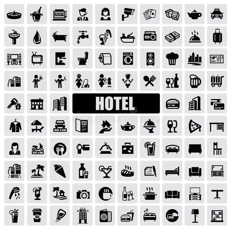 Ícones do hotel ilustração do vetor
